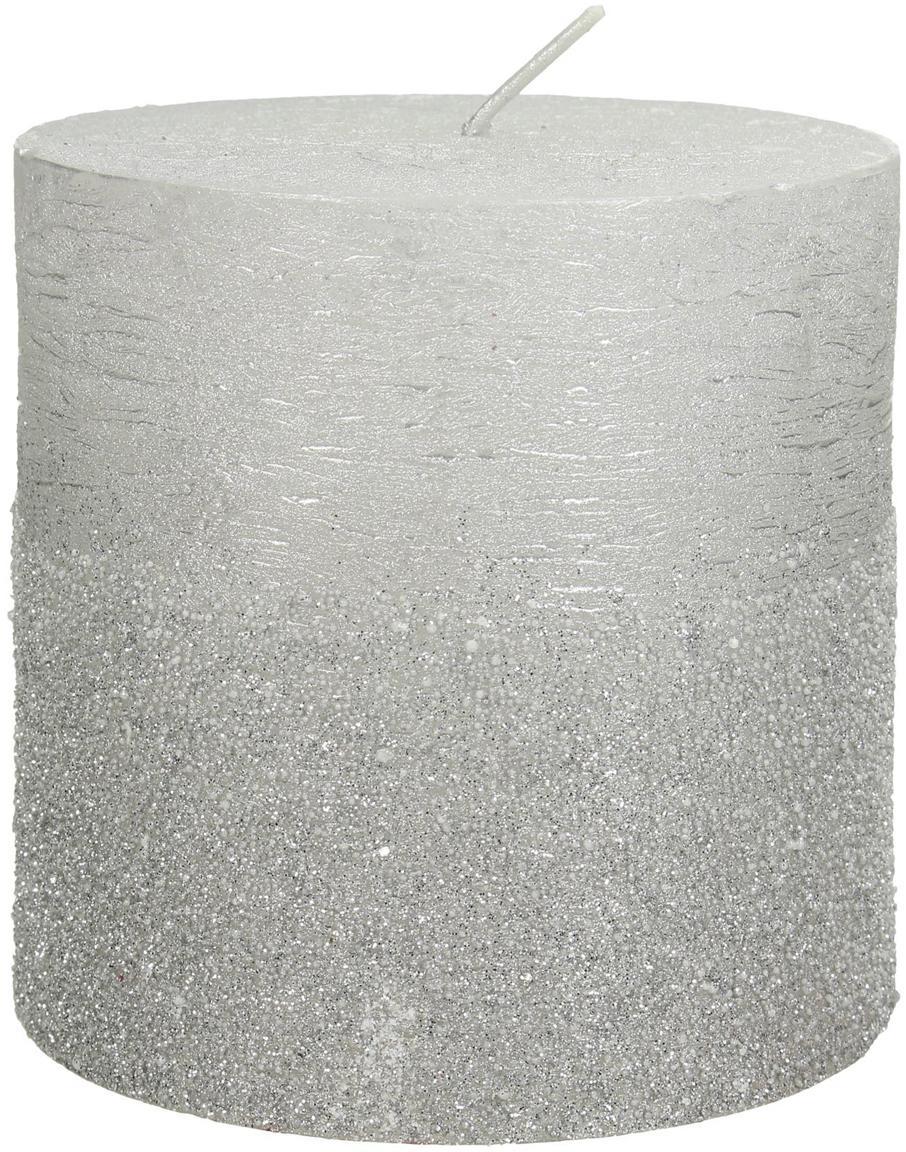 Vela pilar Glitters, Cera, Plateado, Ø 10 x Al 10 cm