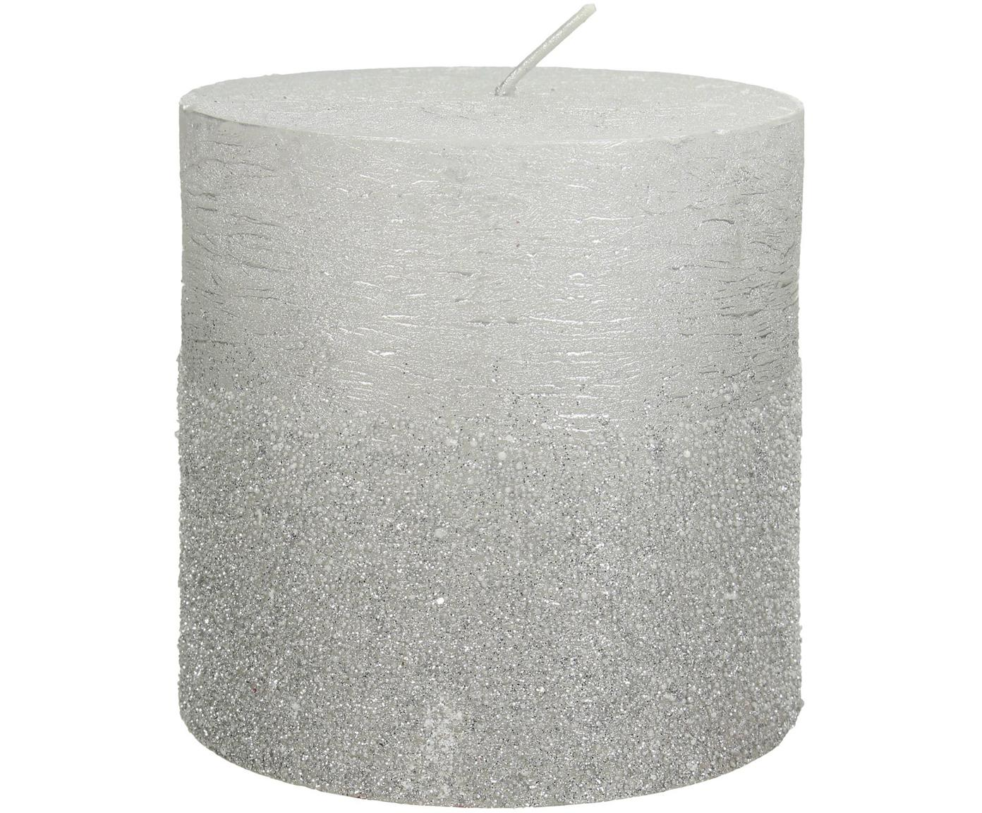 Candela pilastro Glitters, Cera, Argentato, Ø 10 x Alt. 10 cm
