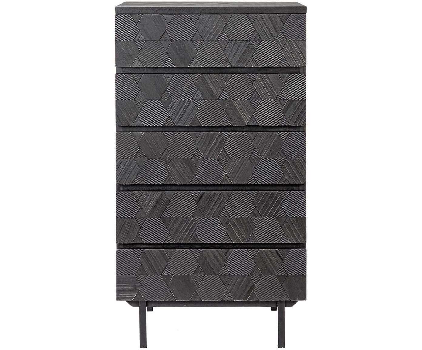 Cómoda Aulialia, Estructura: madera de fresno, tablero, Patas: acero, Gris, negro, An 54 x Al 103 cm