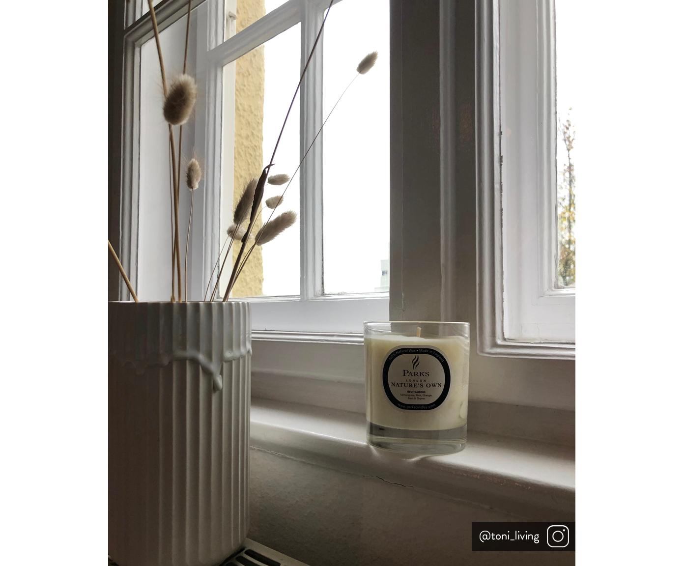 Geurkaars Revitalising Spa (munt, citrus & tijm), Houder: glas, Transparant, wit, Ø 8 x H 9 cm