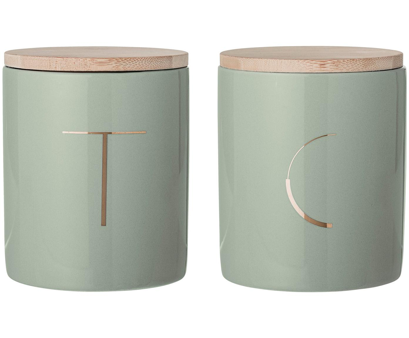 Opbergpotten Aileen, 2-delig., Doos: aardewerk, Deksel: bamboe, siliconen, Mintgroen, bamboehout, Ø 10 x H 13 cm