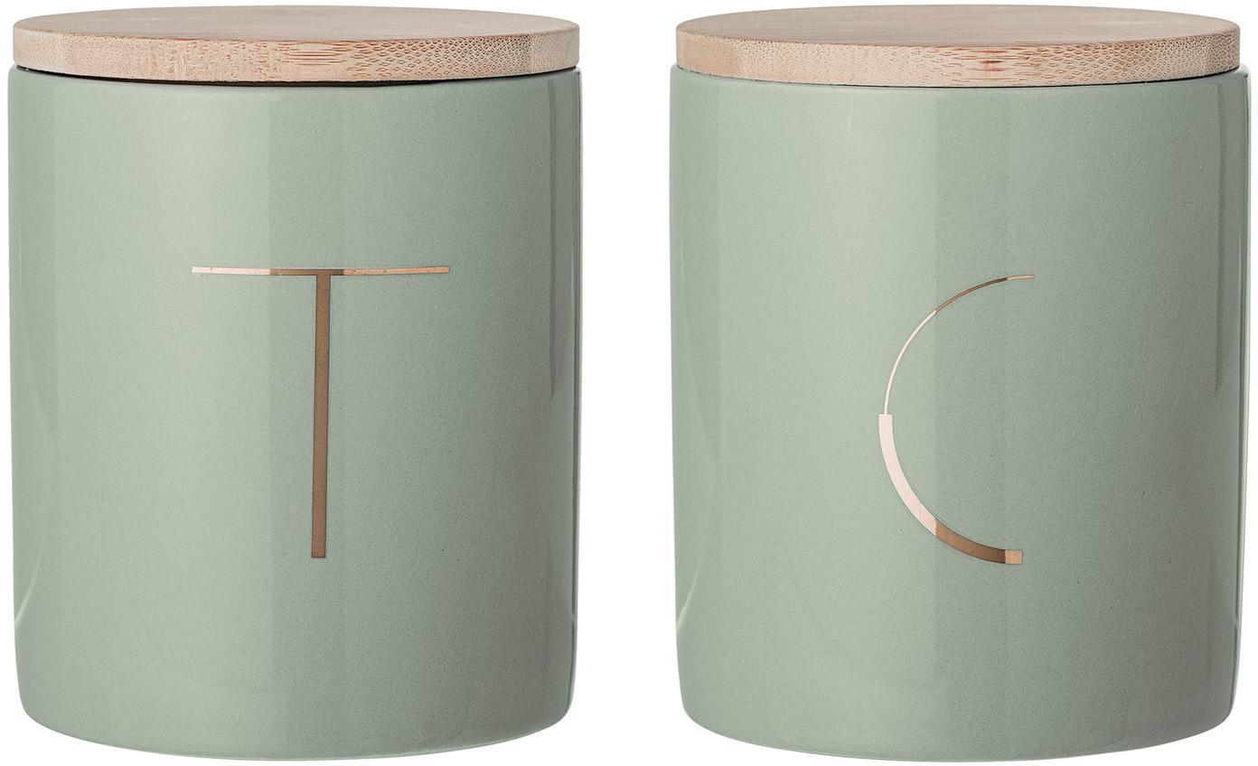Set scatole Aileen 2 pz, Contenitore: gres, Coperchio: legno di bambù, silicone, Verde menta, legno di bambù, Ø 10 x Alt. 13 cm