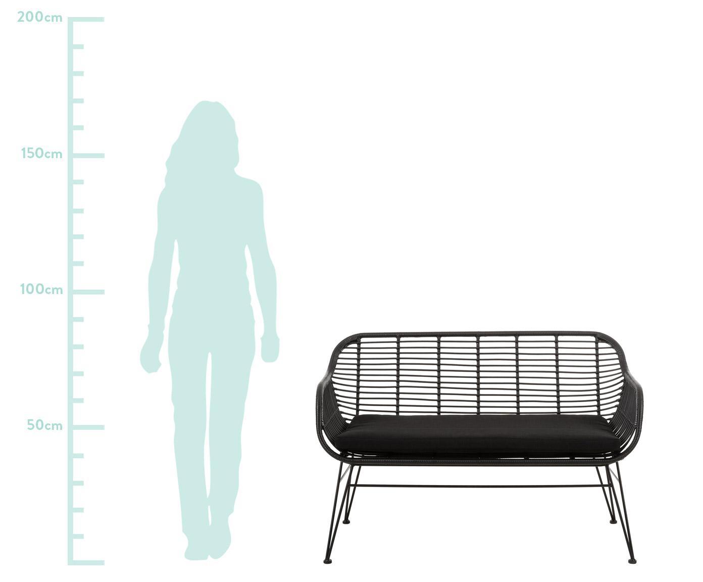 Bank Beliz, Zitvlak: polyethyleen-vlechtwerk, Frame: gepoedercoat metaal, Zwart, B 126 x D 68 cm