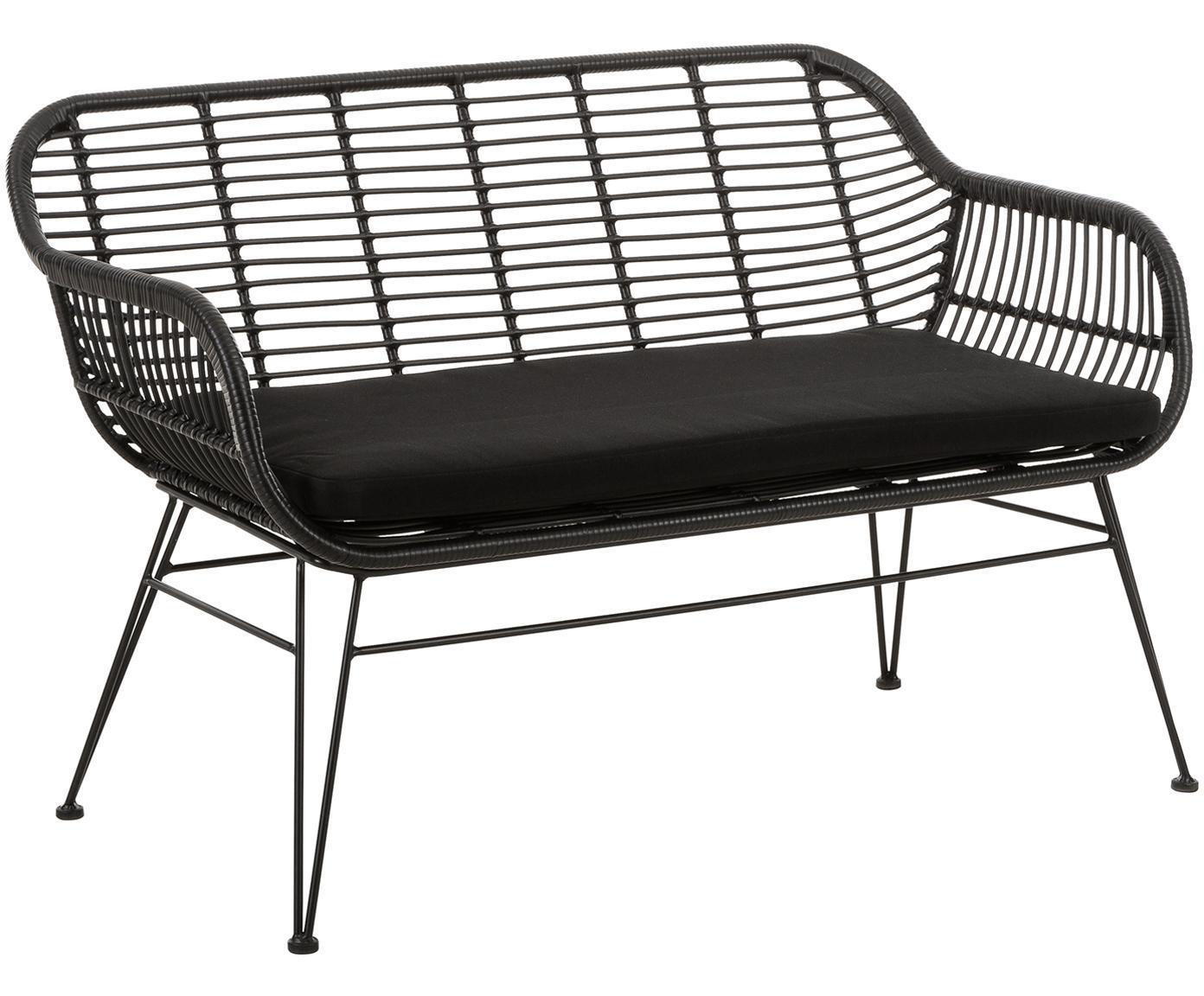 Garten-Sitzbank Costa mit Polyrattan, Sitzfläche: Polyethylen-Geflecht, Gestell: Metall, pulverbeschichtet, Schwarz, B 126 x T 68 cm