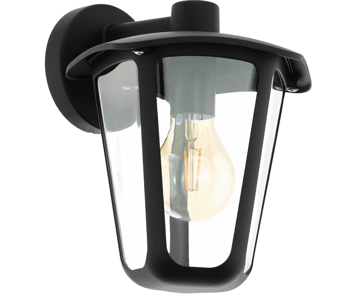 Aplique Monreale, Pantalla: plástico, Estructura: aluminio, Negro, An 23 x F 28 cm