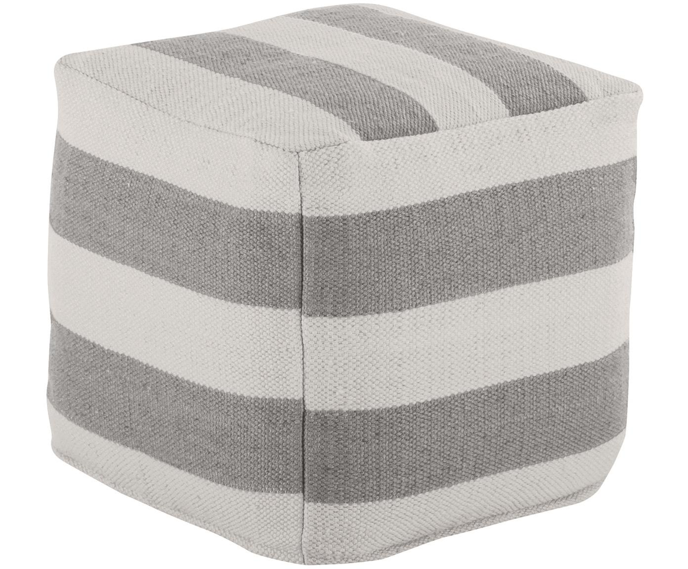In- und Outdoor-Pouf Lani, Bezug: 100% recyceltes Polyester, Grau, Ecru, 40 x 40 cm
