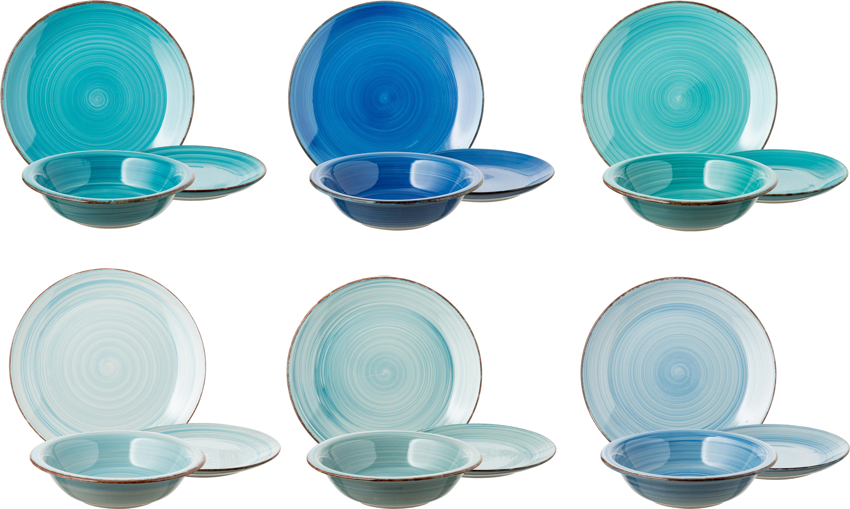 Vajilla artesanales Baita, 6comensales (18pzas.), Gres (dolomita) pintadoamano, Tonos de azul, menta y turquesa, Tamaños diferentes