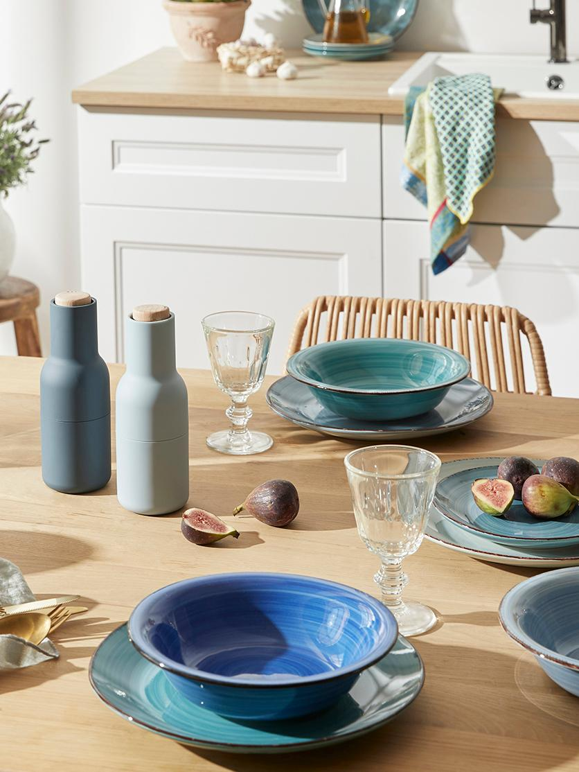 Set 18 piatti dipinti a mano in tonalità blu Baita, 6 persone, Terracotta (Hard Dolomite), dipinto a mano, Tonalità blu, menta, turchesi, Diverse dimensioni