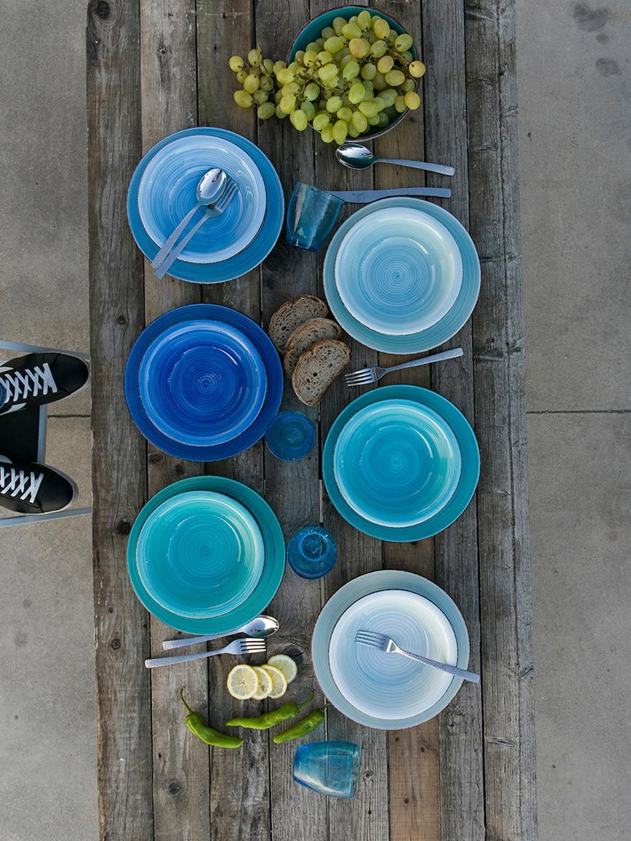 Serviesset Baita, 6 personen (18-delig), Handbeschilderde keramiek (hard dolomiet), Blauw-, mint-, turquoisetinten, Verschillende formaten