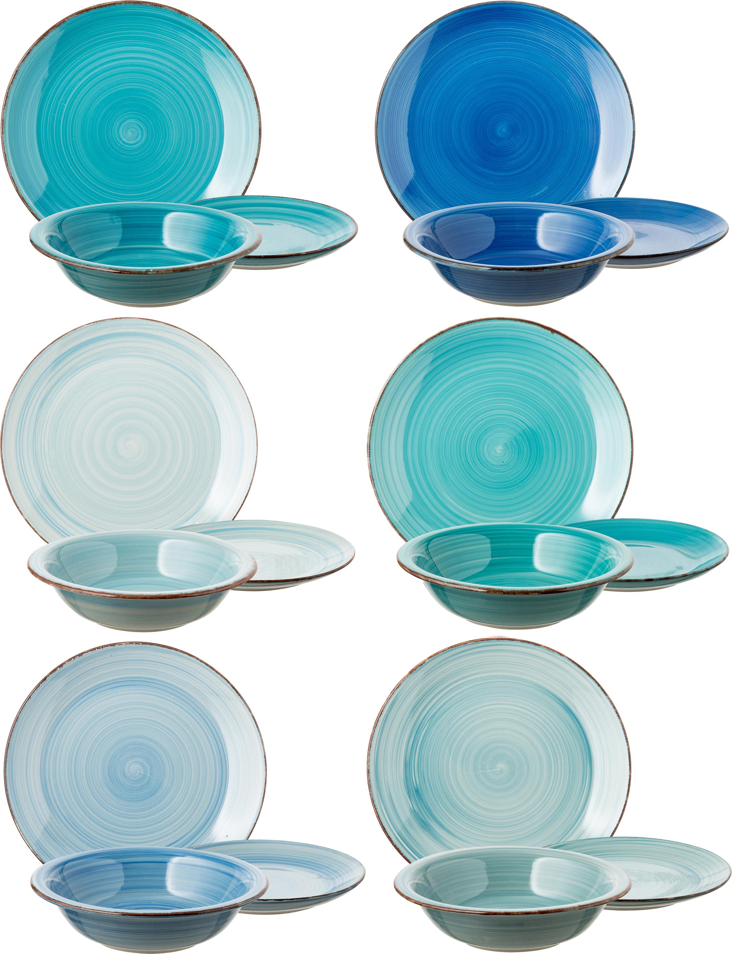 Vajilla artesanales Baita, 6comensales (18pzas.), Gres (dolomita) pintadoamano, Tonos de azul, menta y turquesa, Set de diferentes tamaños