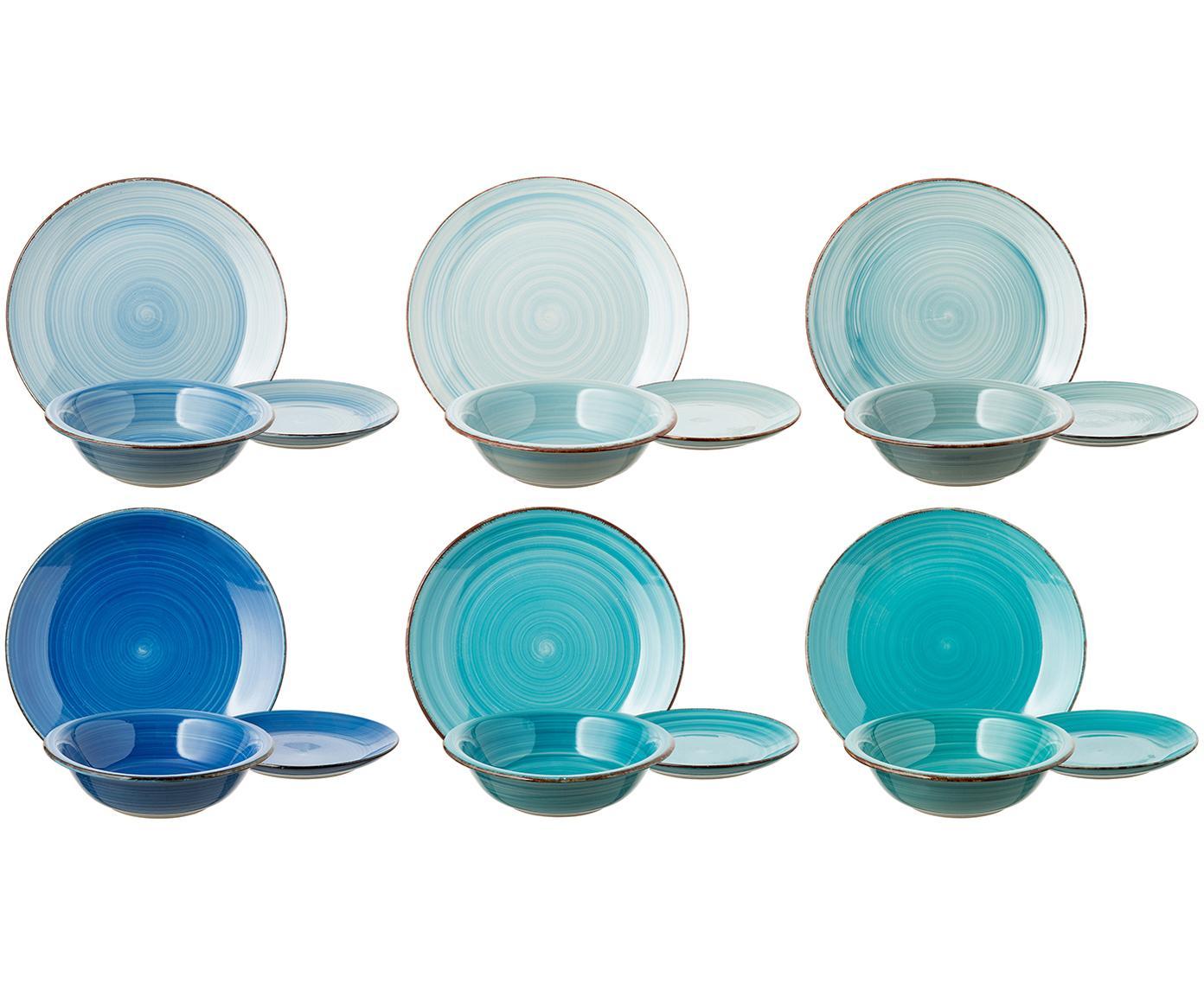 Set 18 piatti in tonalità blu Baita, 6 persone, Terracotta (Hard Dolomite), dipinto a mano, Tonalità blu, menta, turchesi, Diverse dimensioni