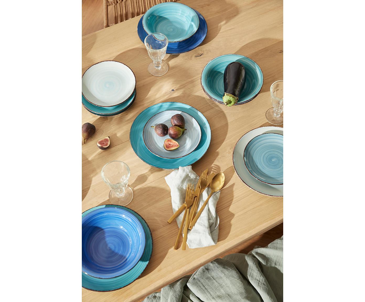 Komplet naczyń  Baita, 18elem., Kamionka (Hard Dolomite), ręcznie malowana, Odcienie niebieskiego, odcienie miętowego, brązowy, Różne rozmiary