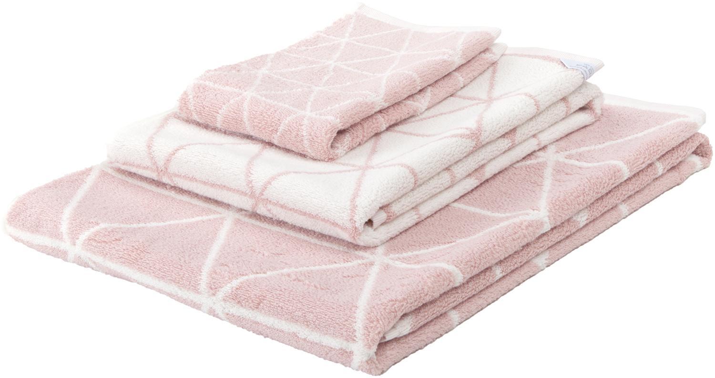 Wende-Handtuch-Set Elina mit grafischem Muster, 3-tlg., Rosa, Cremeweiß, Sondergrößen