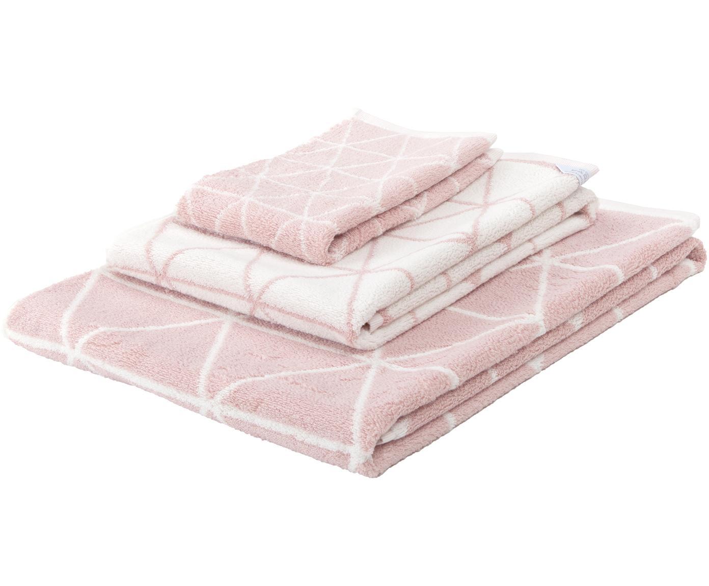 Set 3 asciugamani reversibili Elina, Rosa, bianco crema, Diverse dimensioni