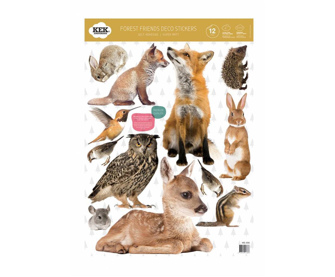 Set de pegatinas de pared Forest Friends, 12pzas., Lámina de vinilo autoadhesiva mate, Multicolor, An 42 x Al 59 cm