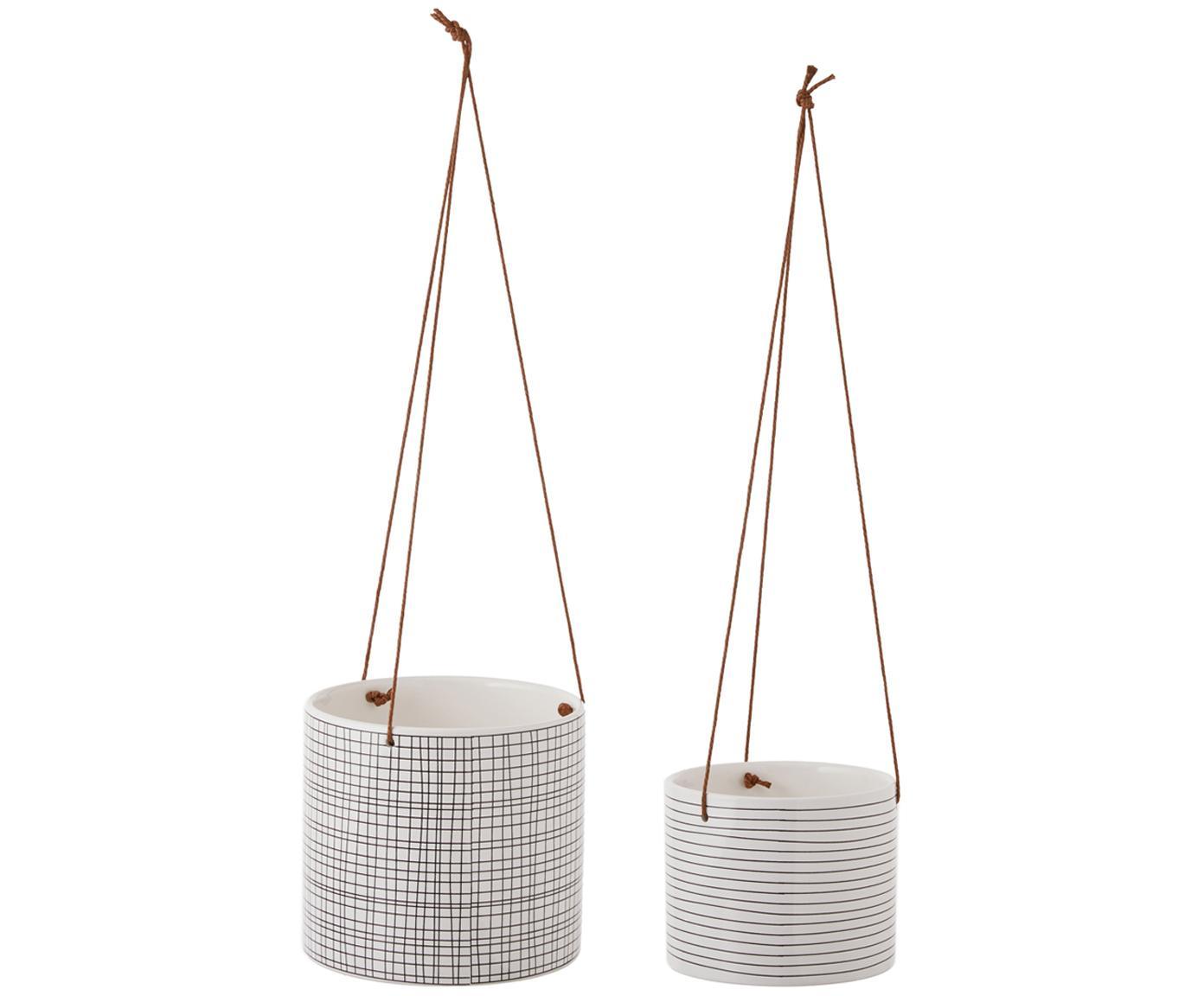 Set de cestas colgantes Sannie, 2pzas., Cesta: piedra dolomita, Negro, blanco, Tamaños diferentes
