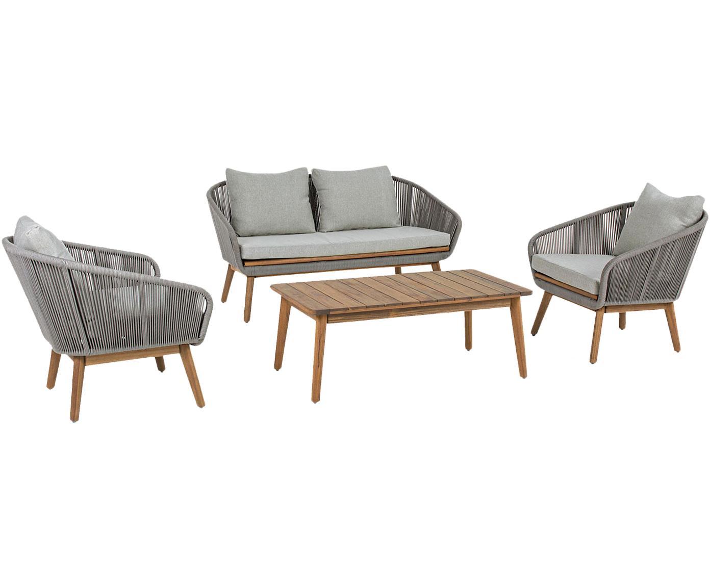 Set lounge de exterior Annecy, 4pzas., Madera, textil, Beige, Tamaños diferentes