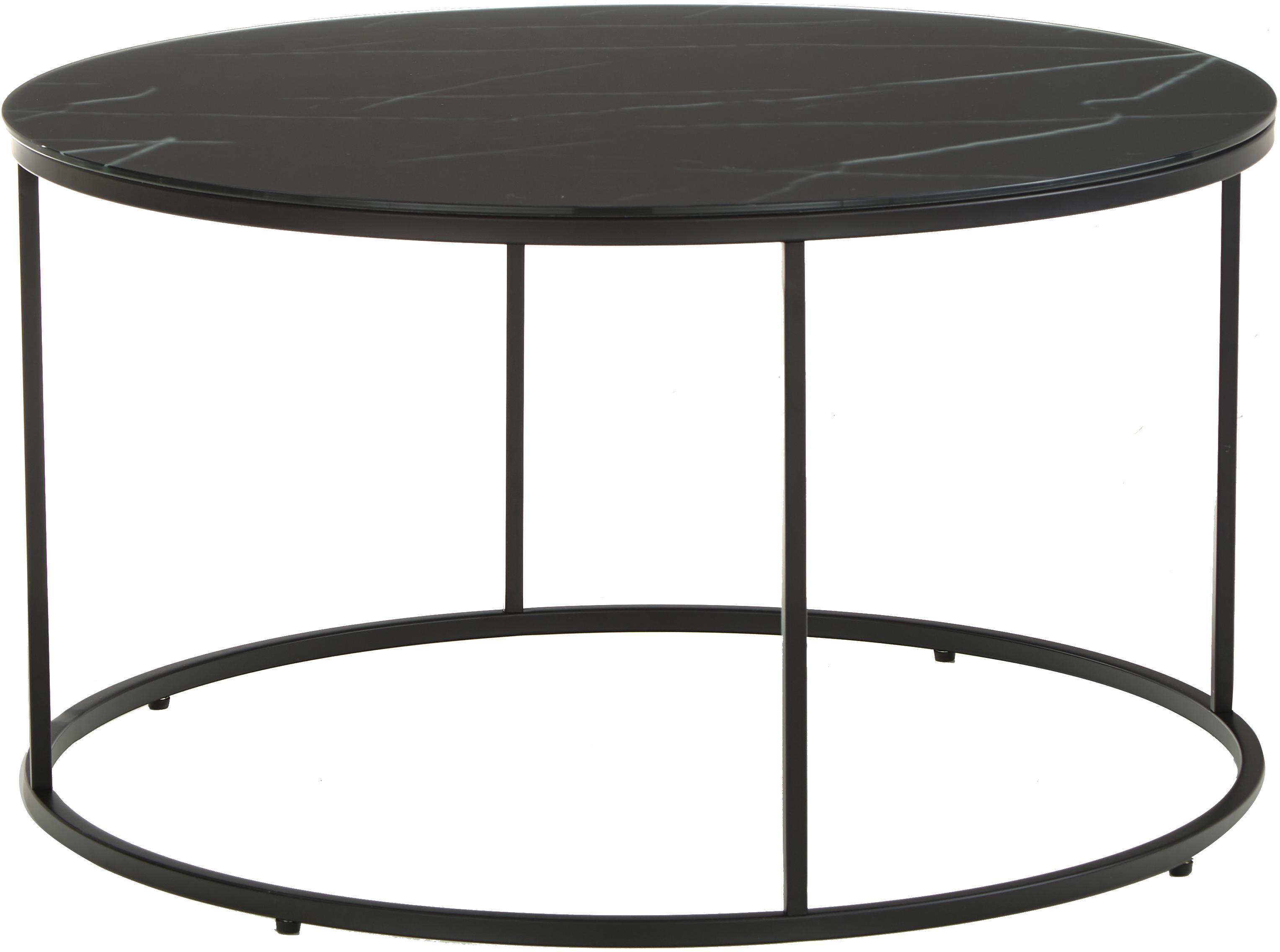 Tavolino da salotto con piano in vetro Antigua, Piano d'appoggio: vetro opaco stampato, Struttura: acciaio, verniciato a pol, Nero-grigio marmorizzato, nero, Ø 80 x Alt. 45 cm