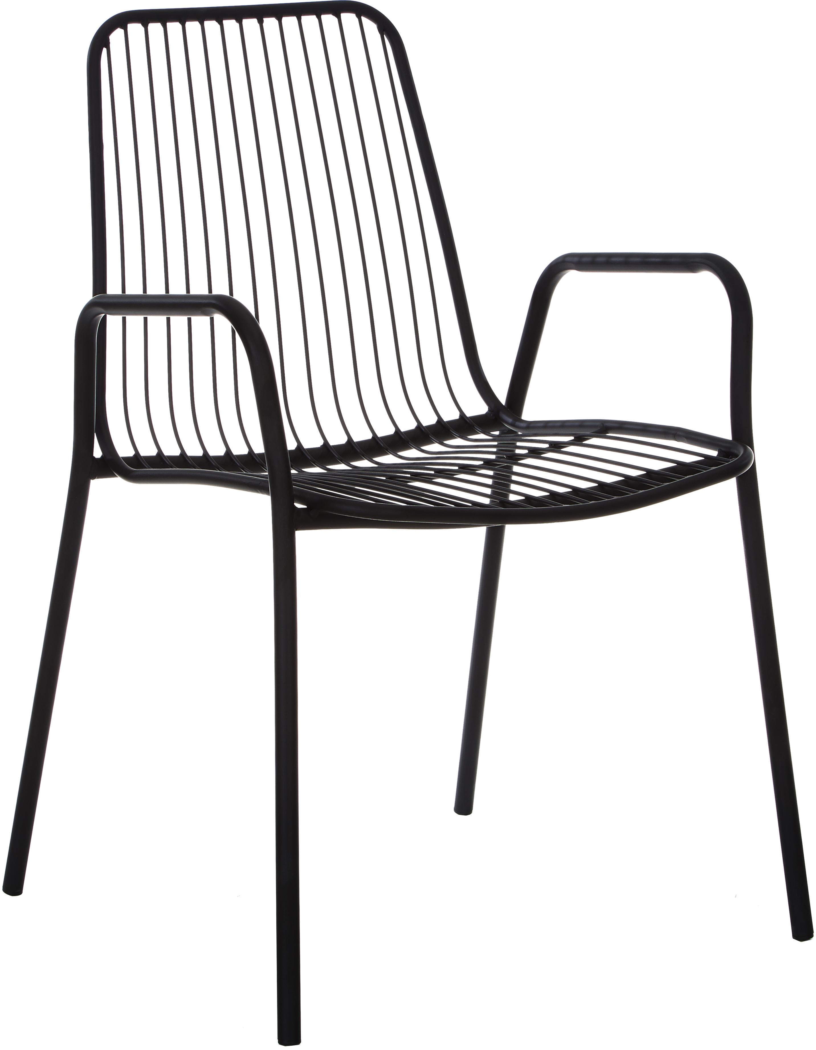 Sedia da giardino in metallo con braccioli Tirana 2 pz, Metallo verniciato a polvere, Nero, Larg. 54 x Prof. 54 cm