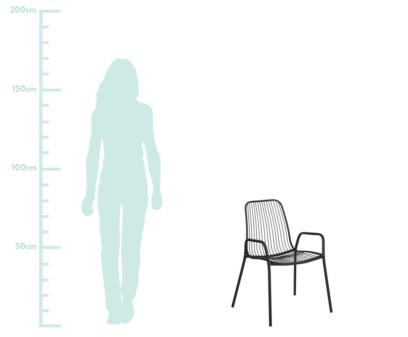 Krzesło z metalu z podłokietnikami Tirana, 2 szt., Metal malowany proszkowo, Czarny, S 54 x G 54 cm