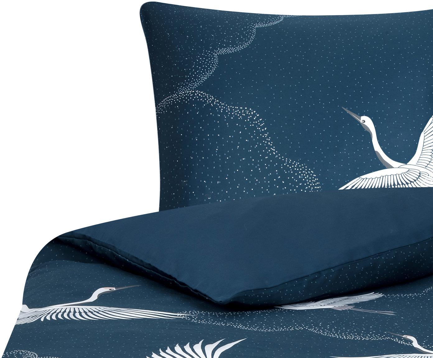 Baumwollsatin-Bettwäsche Yuma mit Kranichmotiv, Webart: Satin Fadendichte 210 TC,, Blau, Weiß, Grau, 155 x 220 cm + 1 Kissen 80 x 80 cm
