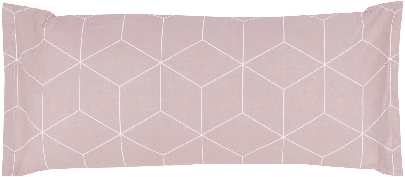 Funda de almohada de tejido renforcé Lynn, Rosa palo, blanco crema, An 45 x L 110 cm