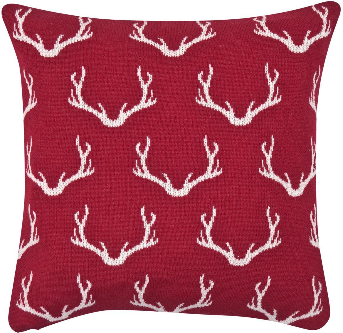 Federa con corna lavorata a maglia Malte, Cotone, Rosso, crema, Larg. 40 x Lung. 40 cm