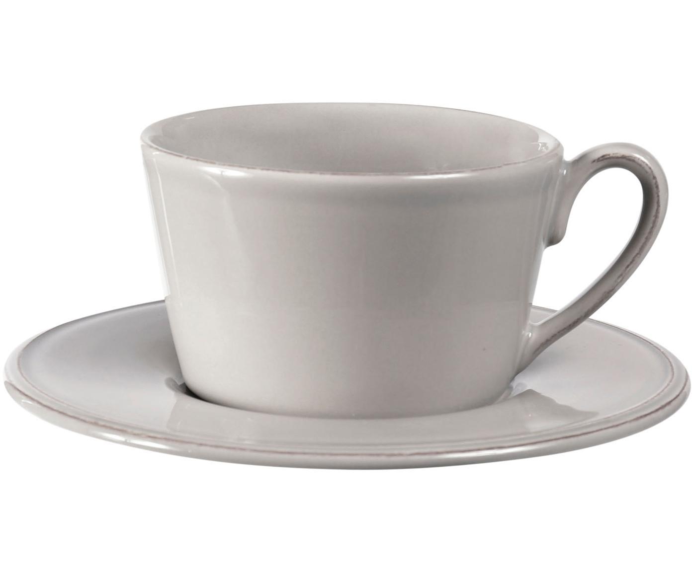 Taza de té con platito Constance, estilo rústico, Gres, Gris claro, Ø 19 x Al 8 cm