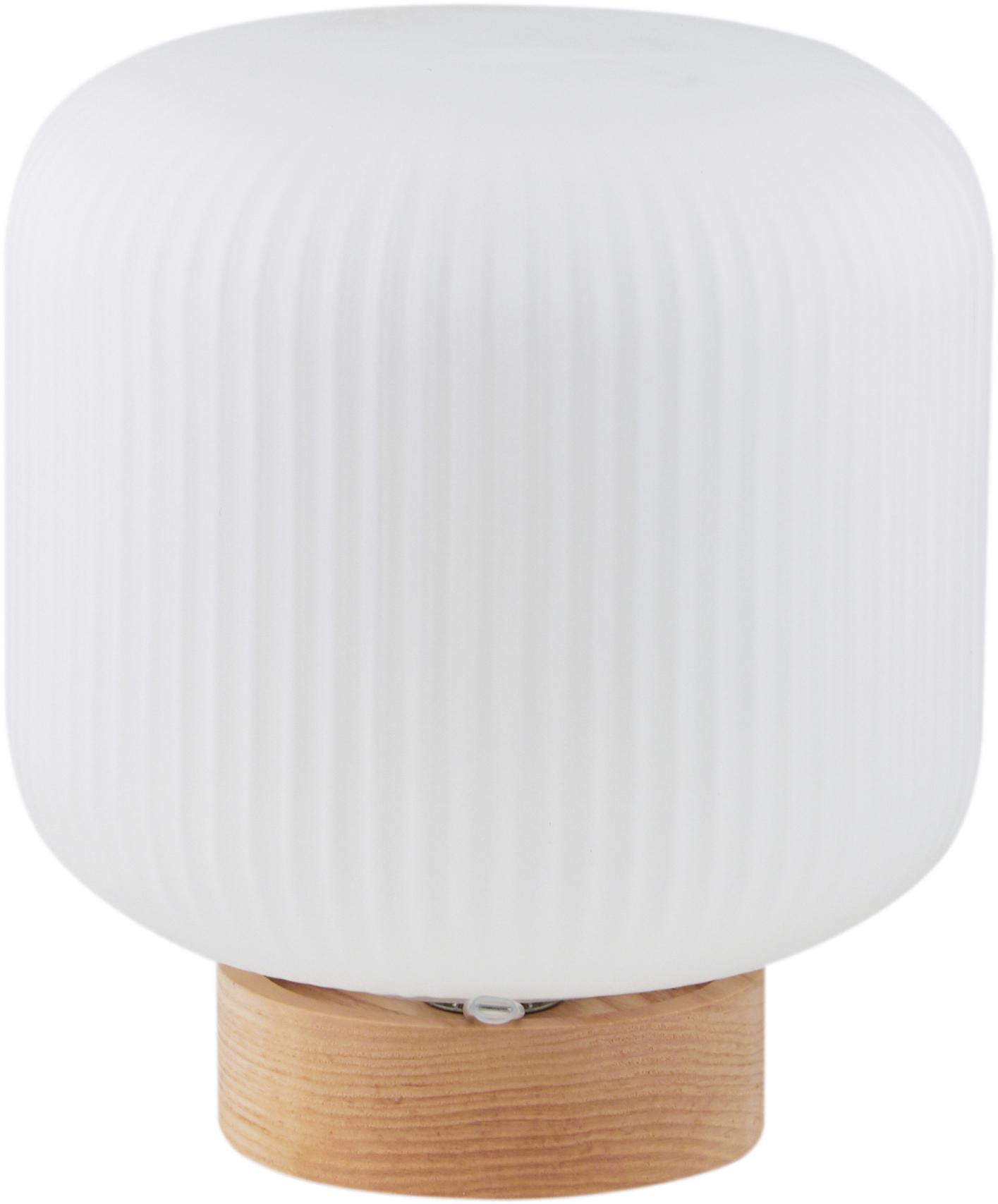 Skandi-Tischlampe Milford aus Opalglas, Lampenschirm: Opalglas, Lampenfuß: Holz, Opalweiß, Holz, Ø 20 x H 21 cm