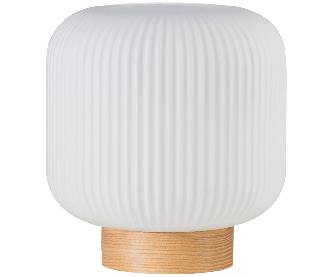 Lámpara de mesa Milford, Pantalla: vidrio opalino, Cable: cubierto en tela, Blanco opalino, madera, Ø 20 x Al 21 cm