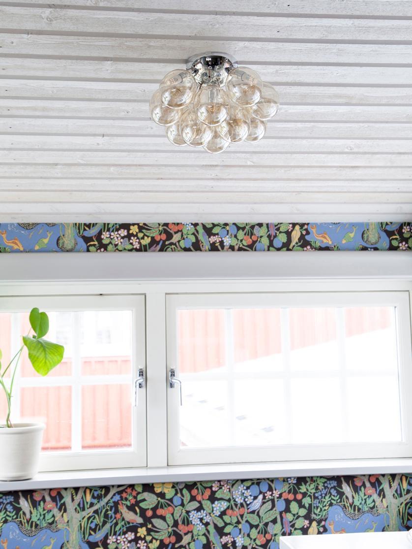 Kleine Glaskugel-Deckenleuchte Gross, Bernsteinfarben, Ø 30 x H 20 cm