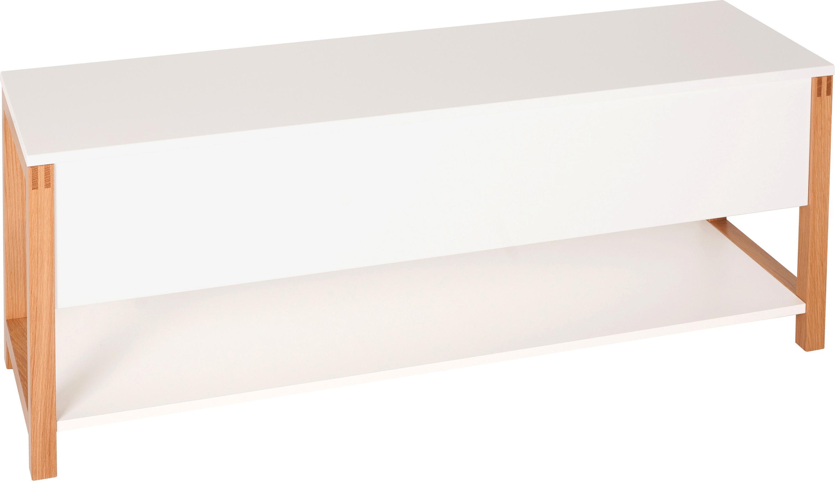 Schoenenbank Northgate met opbergruimte, Frame: eikenhout, Wit, 120 x 48 cm