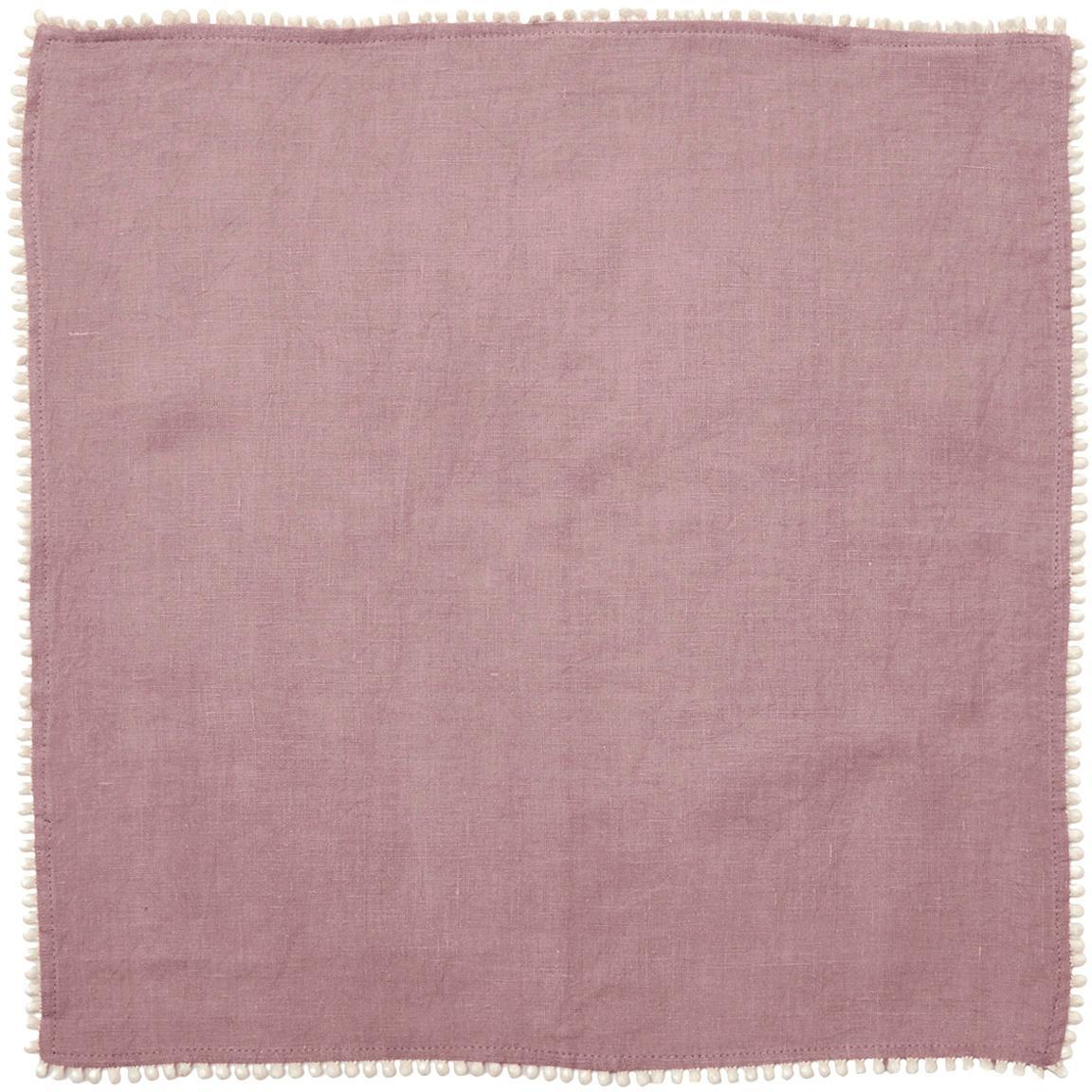 Gewaschene Leinen-Servietten Pom Pom, 4 Stück, Leinen, Altrosa, 46 x 46 cm