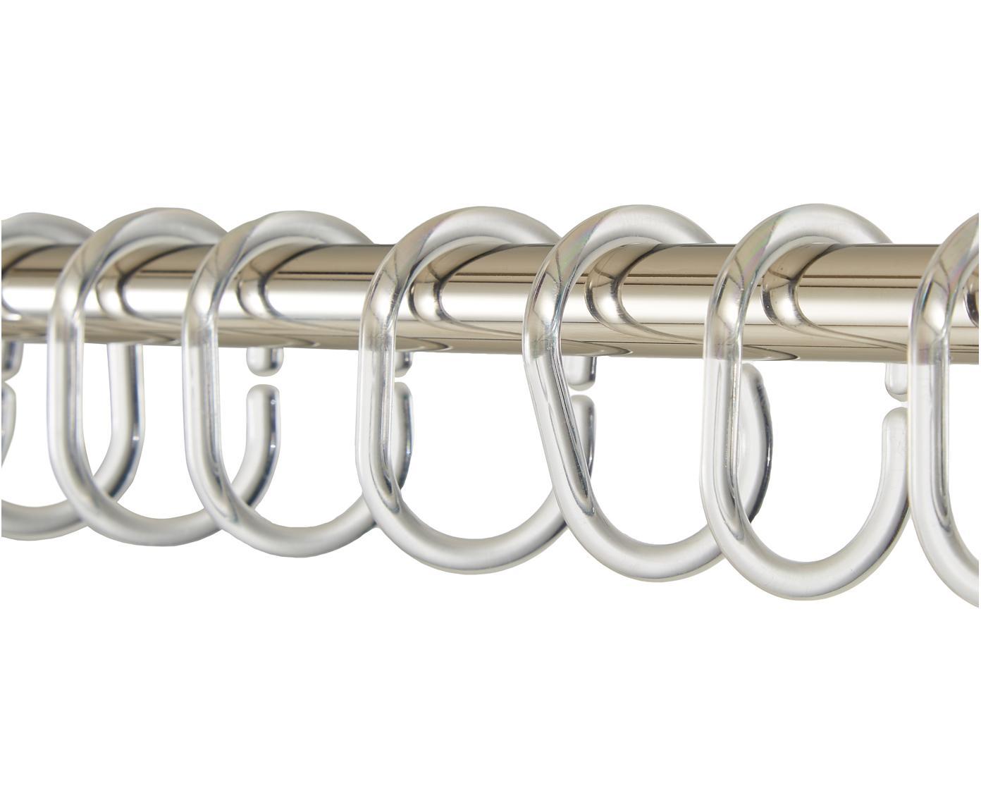 Douchegordijnen ringen Crystal, 12 stuks, Kunststof, Transparant, H 7 cm