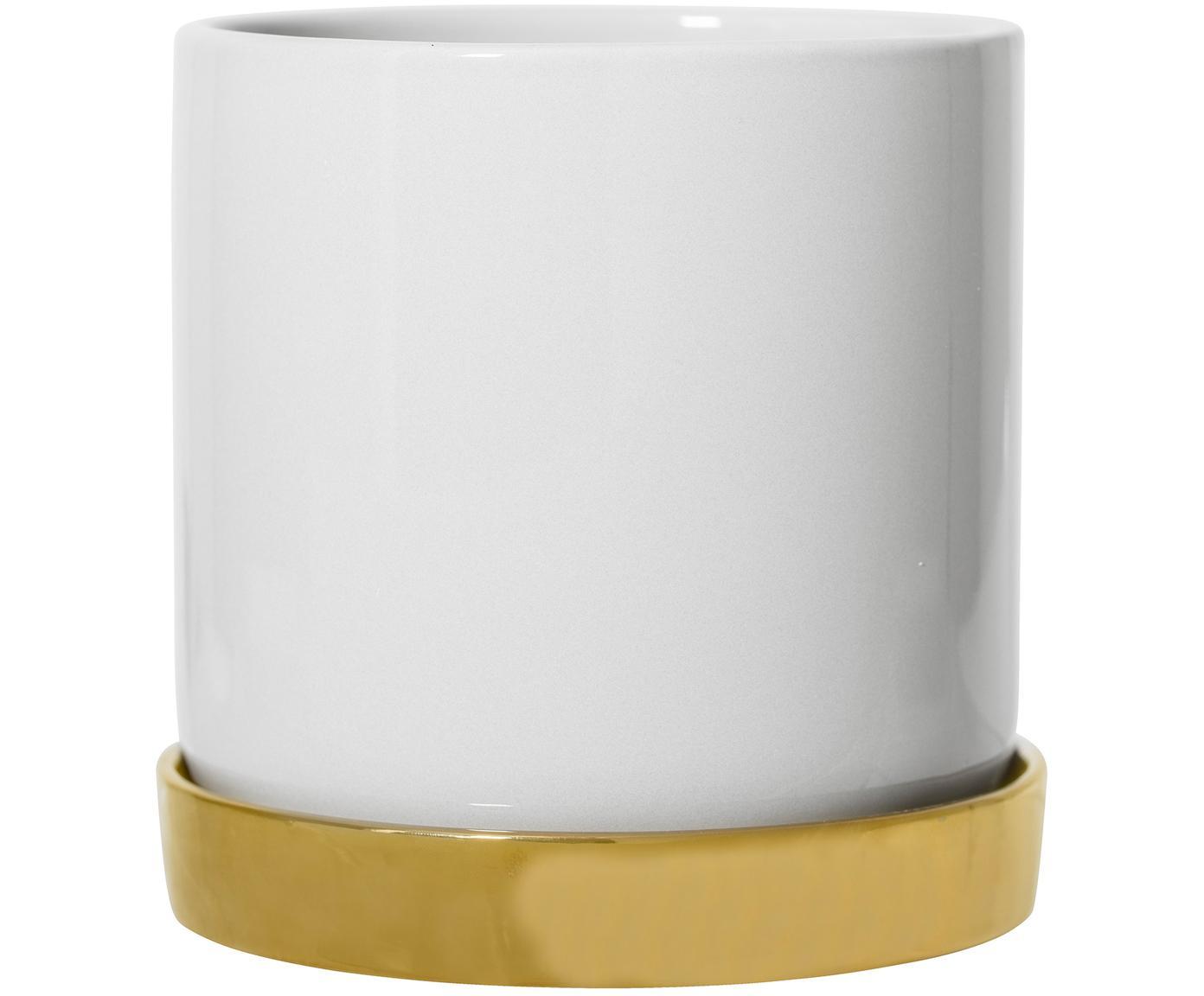 Plantenpot Elin, Keramiek, Pot: wit. Onderzetter: goudkleurig, Ø 14 x H 14 cm