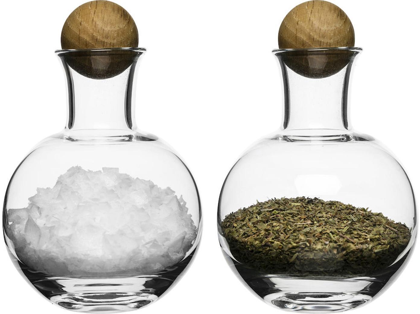 Mondgeblazen opbergpotten Eden met houten dop, 2 stuks, Mondgeblazen glas, Transparent, eikenhoutkleurig, Ø 10 x H 10 cm