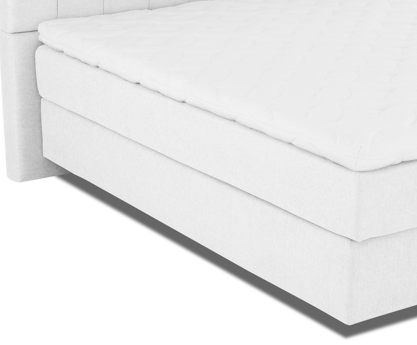 Łóżko kontynentalne premium Phoebe, Nogi: lite drewno bukowe, lakie, Jasny szary, 200 x 200 cm