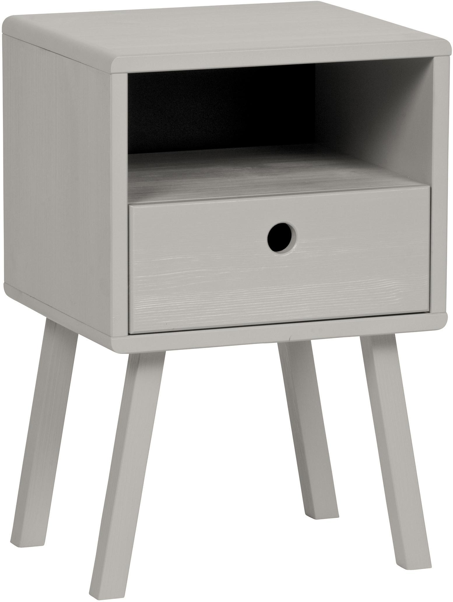 Comodino in grigio con cassetto Sammie, Legno di pino, spazzolato e verniciato Certificato FSC, Grigio chiaro, Larg. 35 x Alt. 53 cm