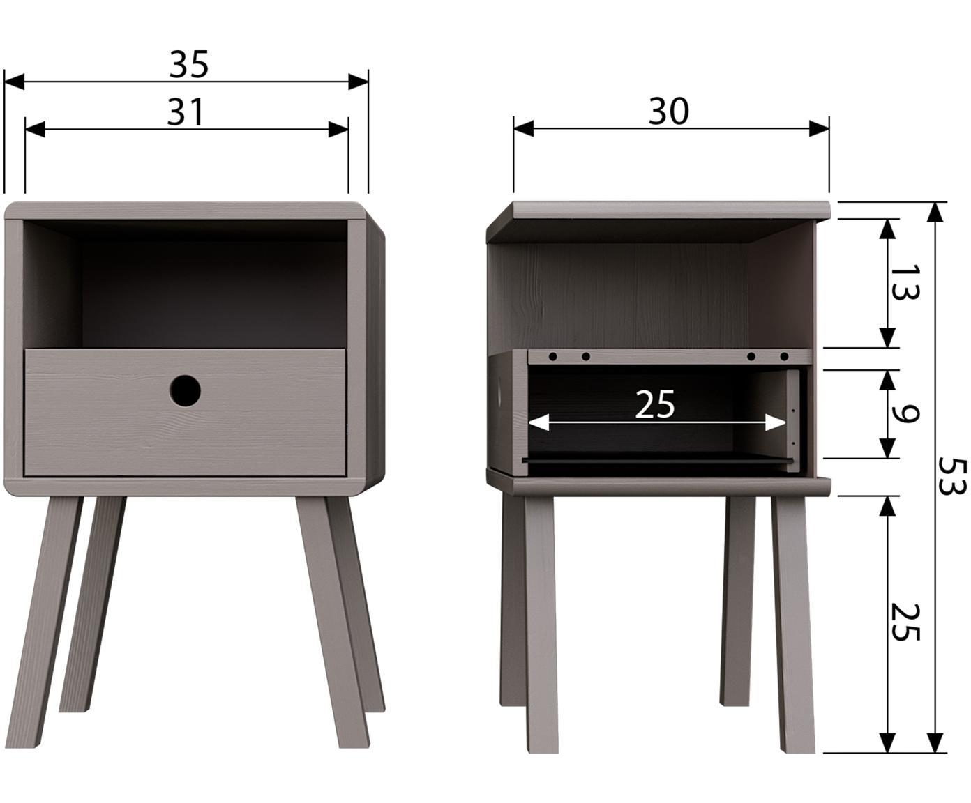 Nachttisch Sammie mit Schublade in Grau, Kiefernholz, gebürstet und lackiert, Hellgrau, 35 x 53 cm
