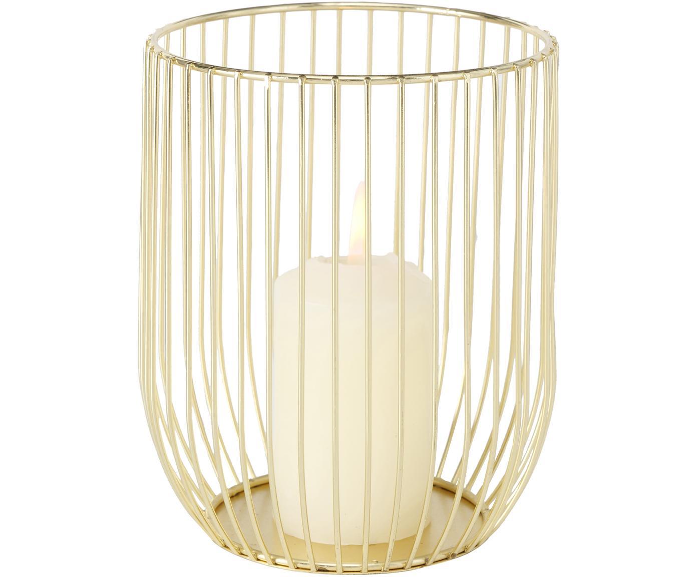 Windlichter-Set Liza, 2-tlg., Metall, pulverbeschichtet, Goldfarben, Sondergrößen