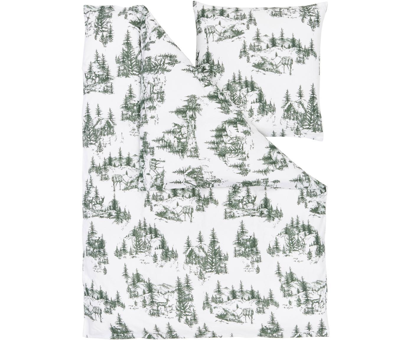 Flanell-Bettwäsche Nordic mit winterlichem Motiv, Webart: Flanell Flanell ist ein s, Grün, Weiß, 135 x 200 cm + 1 Kissen 80 x 80 cm