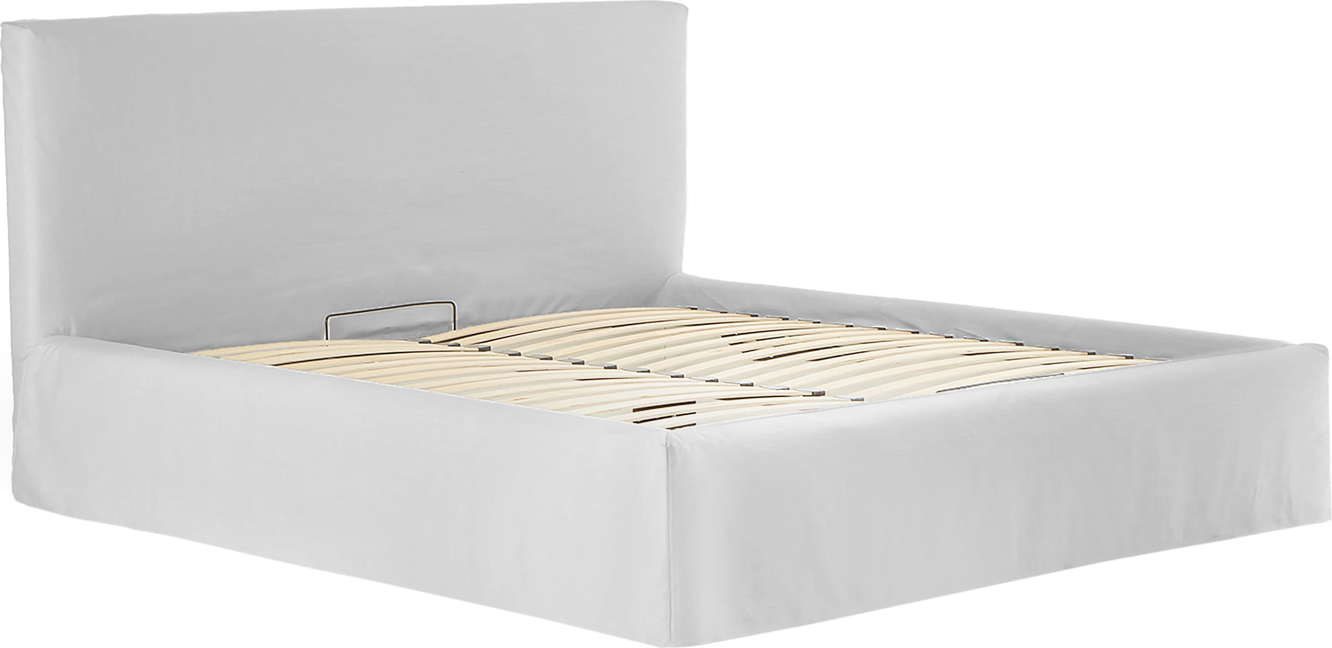 Polsterbett Feather mit Stauraum, Korpus: Massives Kiefernholz, Bezug: Polyester (Strukturstoff), Beigegrau, 160 x 200 cm