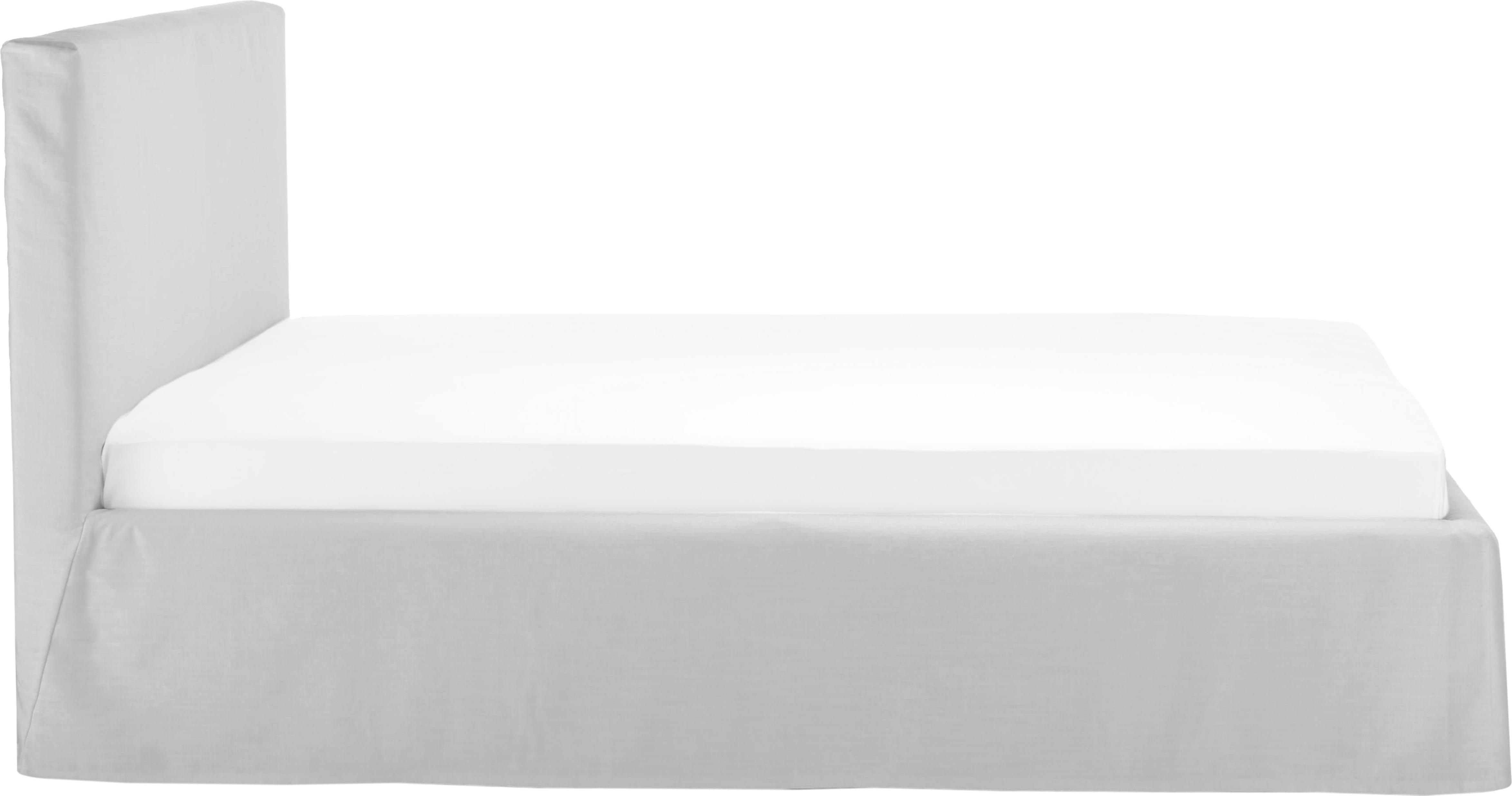 Letto matrimoniale imbottito con contenitore Feather, Rivestimento: Poliestere (tessuto strut, Grigio chiaro, Larg. 160 x Lung. 200 cm