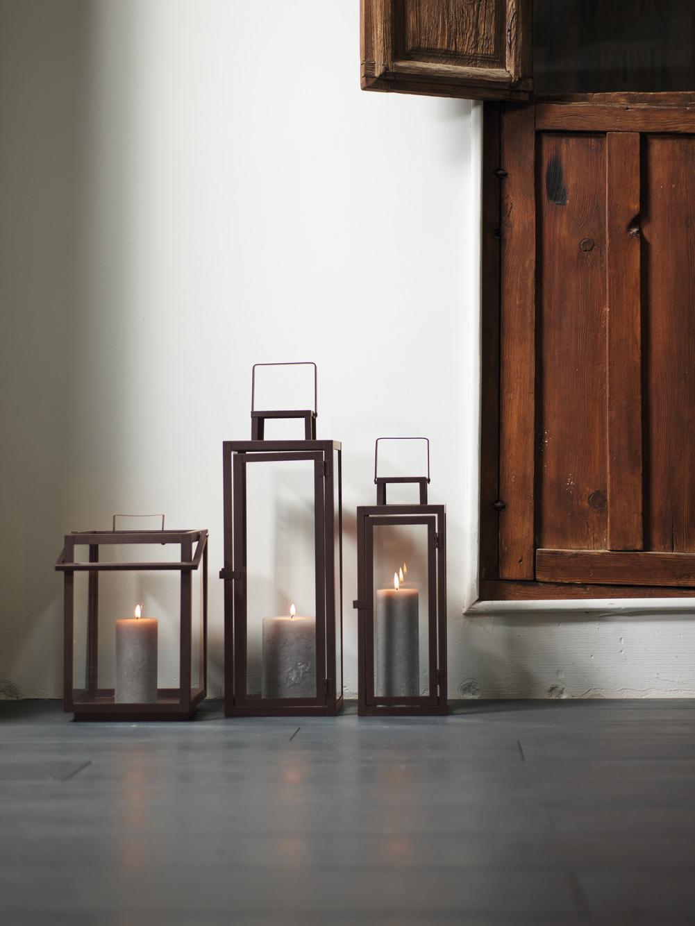 Laterne Ragara, Rahmen: Metall, beschichtet, Braun, 15 x 39 cm