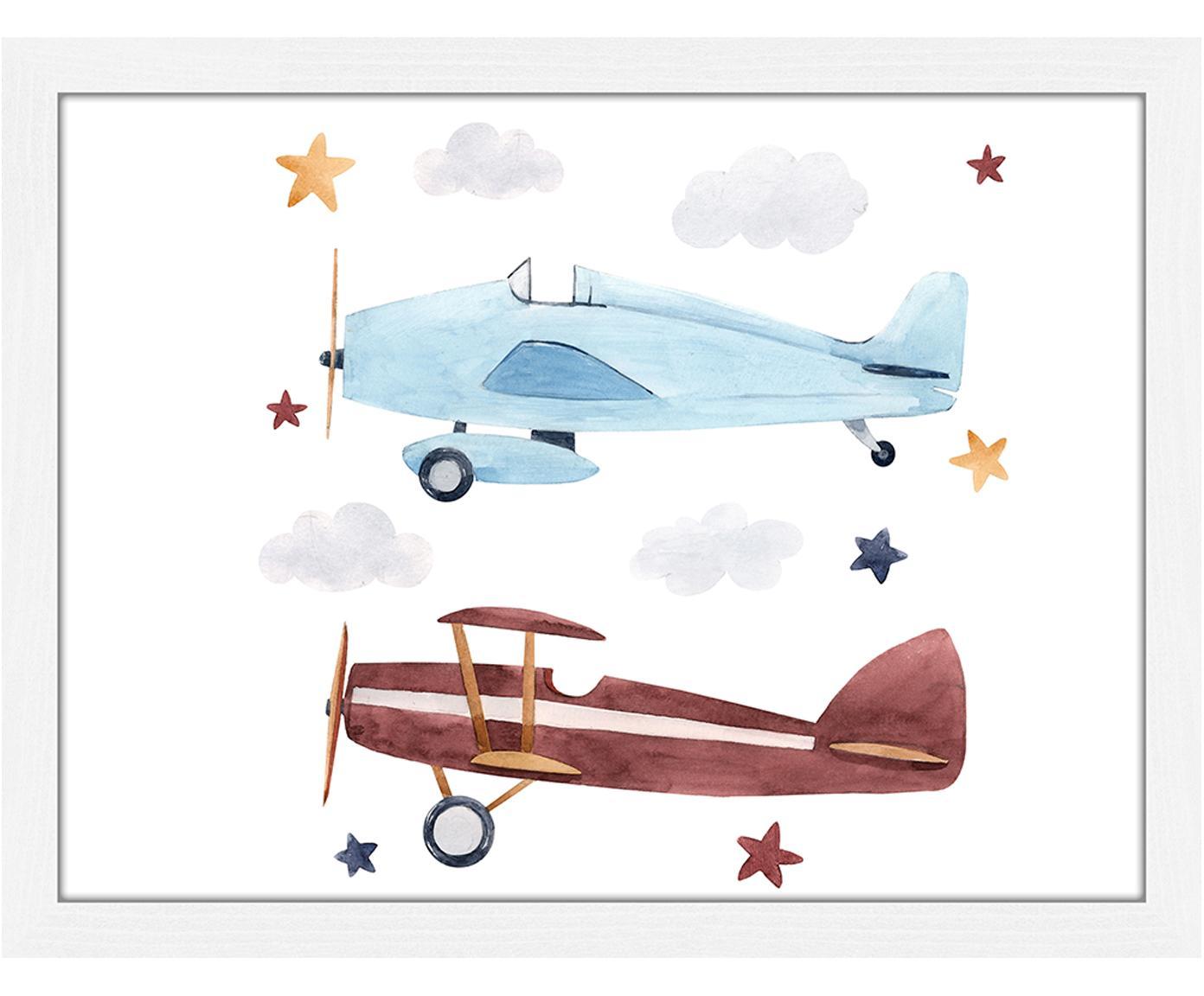 Ingelijste digitale print Planes, Lijst: gelakt hout, Wit, blauw, bruin, geel, grijs, 43 x 33 cm