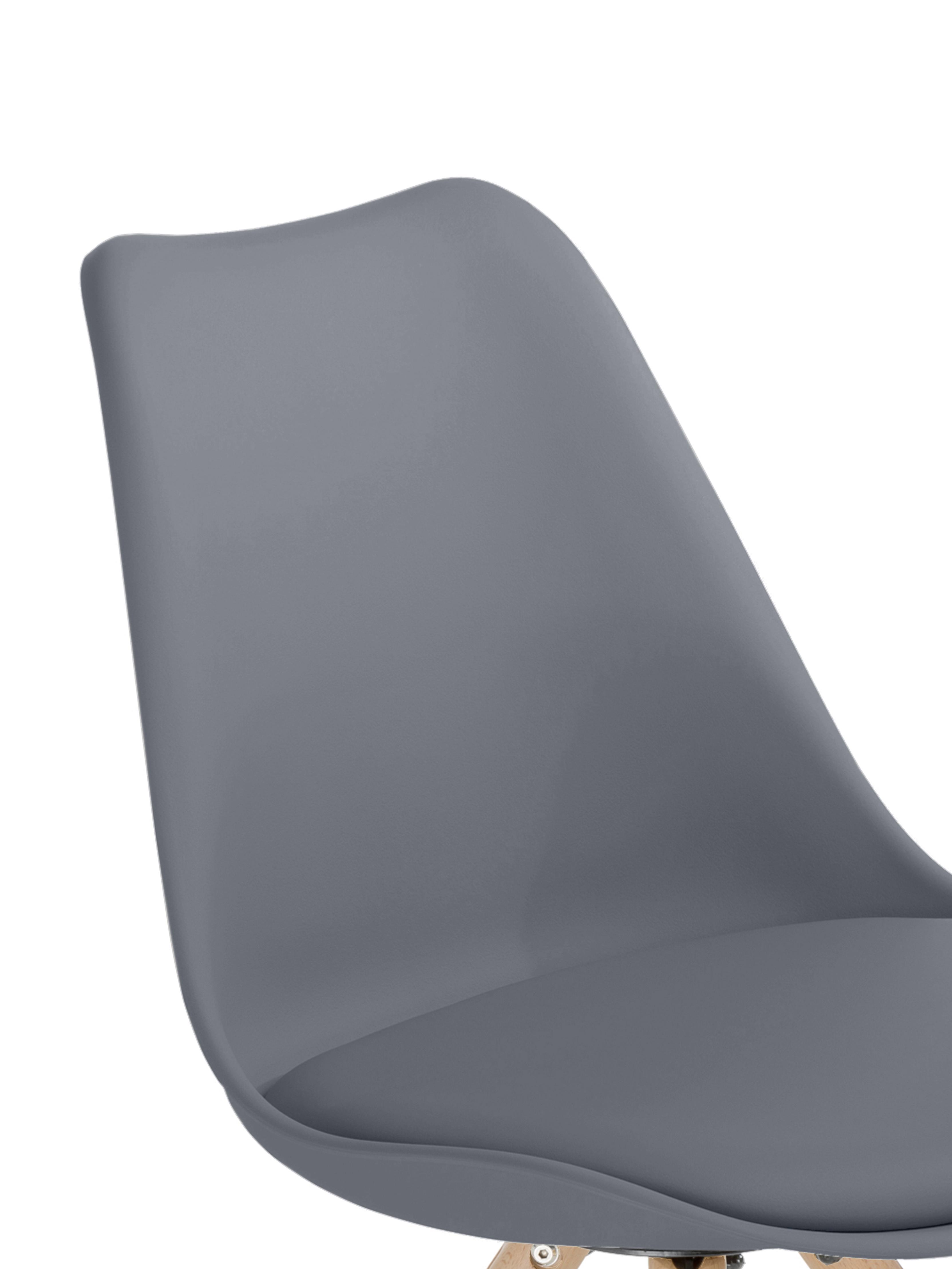 Stühle Max mit Kunstleder-Sitzfläche, 2 Stück, Sitzfläche: Kunstleder (Polyurethan), Sitzschale: Kunststoff, Beine: Buchenholz, Dunkelgrau, B 46 x T 54 cm