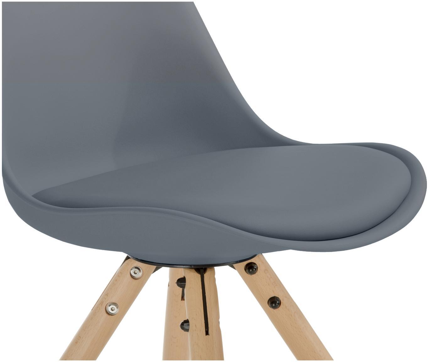 Sillas con asiento de cuero sintético Max, 2uds., Asiento: cuero sintético (poliuret, Asiento: plástico, Patas: madera de haya, Gris oscuro, An 46 x F 54 cm