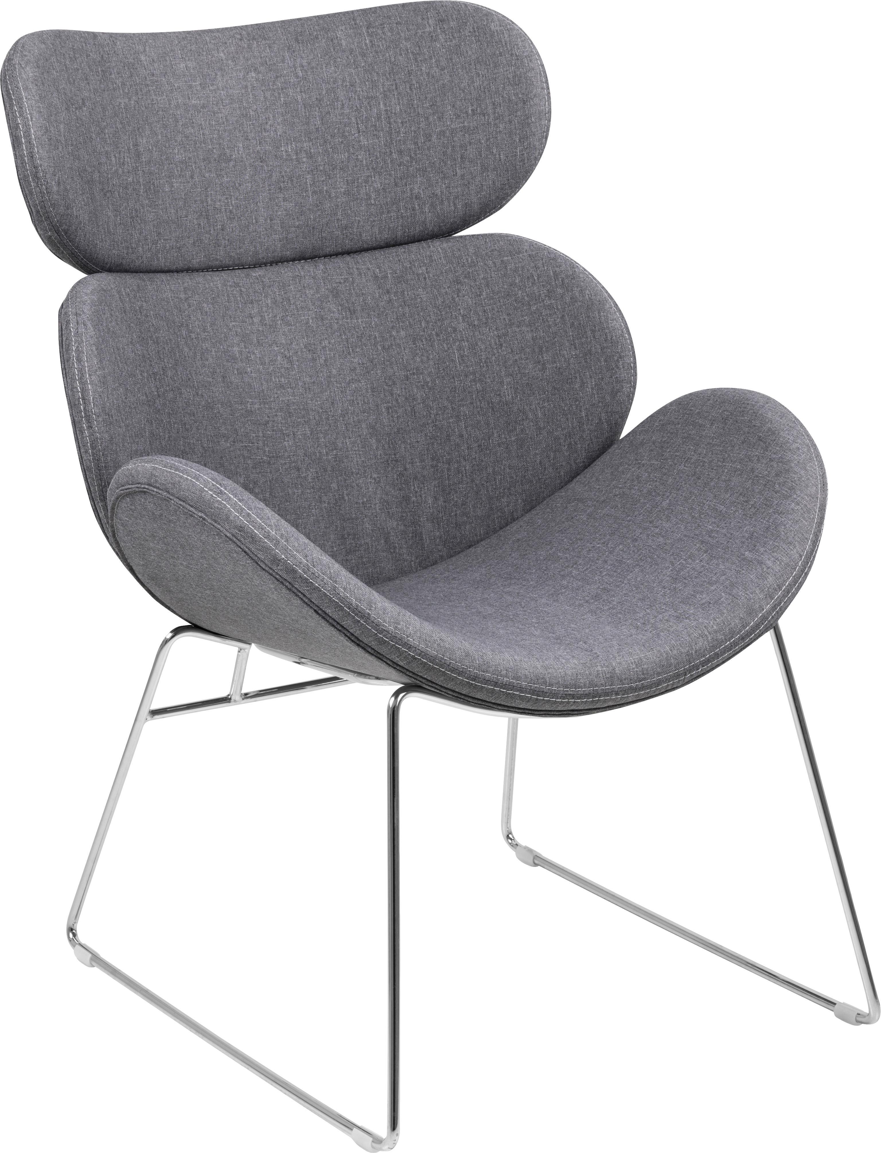 Moderner Loungesessel Cazar in Hellgrau, Bezug: Polyester, Gestell: Metall, verchromt, Webstoff Hellgrau, B 69 x T 79 cm