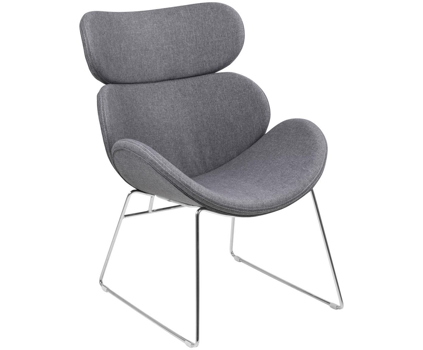 Moderne loungefauteuil Cazar in lichtgrijs, Bekleding: polyester, Frame: verchroomd metaal, Lichtgrijs, chroomkleurig, B 69 x D 79 cm