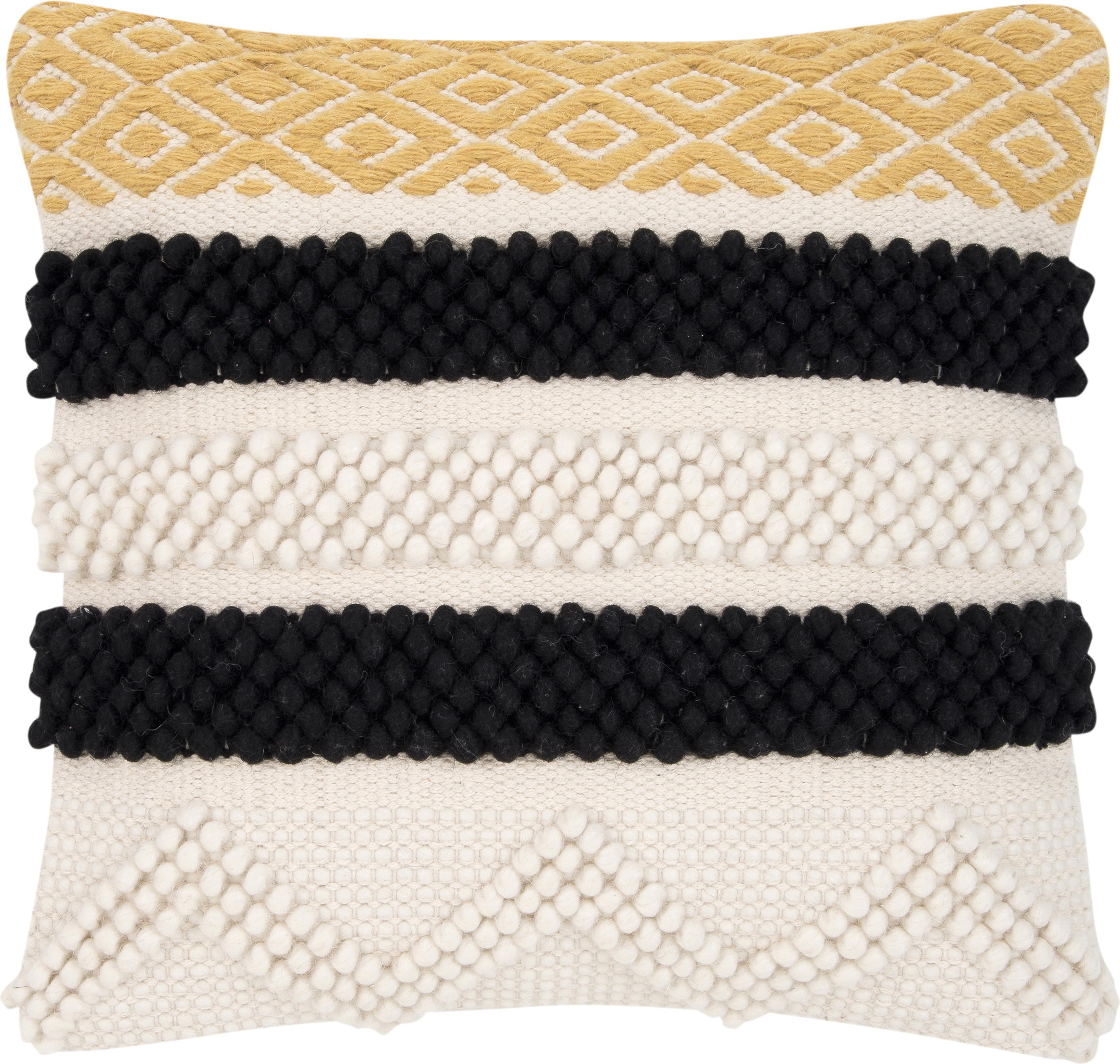 Poszewka na poduszkę Takala, 80% bawełna, 20% poliester, Ecru, czarny, żółty, S 45 x D 45 cm